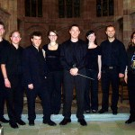 "Tim Jansa with his student ensemble after the European premiere of his ""Septet for Winds and Percussion"" (2009)"