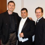 "Tim Jansa with Robert J. Ambrose and Adam Frey before a performance of the 3rd movement of ""Concierto Iberico"" (May 2010)"
