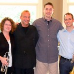 "Tim Jansa with Jen Marotta and Tom Hooten, trumpet, and Chris Chandler, piano, after the recording of ""Wings: A Contemplative Fanfare"" (Sept. 2011)"