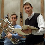 Euphonium soloist Adam Frey and composer Tim Jansa before rehearsals of Jansa's Euphonium Concerto at the 2012 U.S. Army Band Tuba/Euphonium Workshop (January 2012)